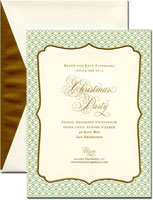 William Arthur Holiday Invitations - Gold Frame with Geometric Pattern