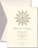 William Arthur Holiday Invitations - Engraved Silver and Gold Snowflake