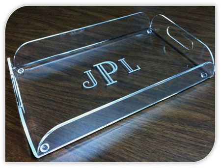 personalized acrylic serving tray with handles more than paper