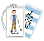 Starfish Art Luggage Tags - Create-Your-Own One Character - Blue Back