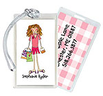 Starfish Art Luggage Tags - Create-Your-Own One Character - Pink Back