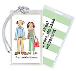 Starfish Art Luggage Tags - Create-Your-Own Two Characters - Green Back