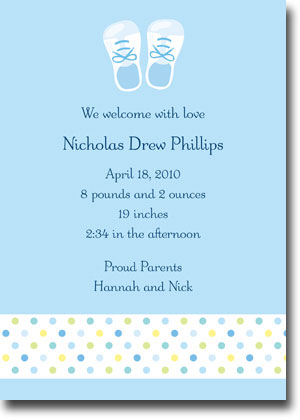 Boatman Geller - Baby Shoes Blue Birth Announcements/Invitations (V)