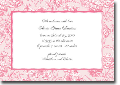 Boatman Geller - Floral Toile Pink Birth Announcements/Invitations
