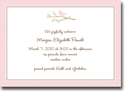 Boatman Geller - Bird On Branch Pink Birth Announcements/Invitations (H)