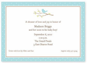Boatman Geller - Bird On Branch Blue Birth Announcements/Invitations (H)