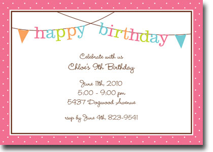 Boatman Geller - Banner Birthday Girl Invitations (H)