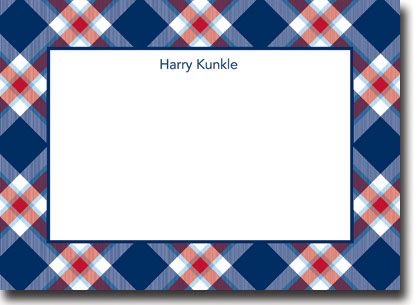 Boatman Geller - Ashley Plaid Navy Birth Announcements/Invitations