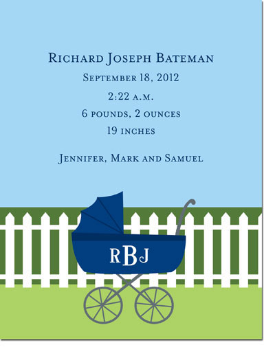Boatman Geller - Charming Pram Navy Invitations