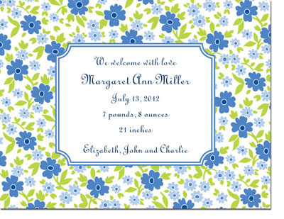 Boatman Geller - Emma Floral Periwinkle Birth Announcements