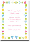 Boatman Geller - Folk Flowers Pink Birth Announcements/Invitations (V)