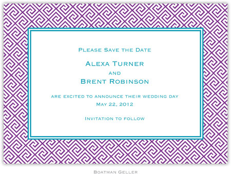 Boatman Geller - Create-Your-Own Birth Announcements/Invitations (Greek Tile)
