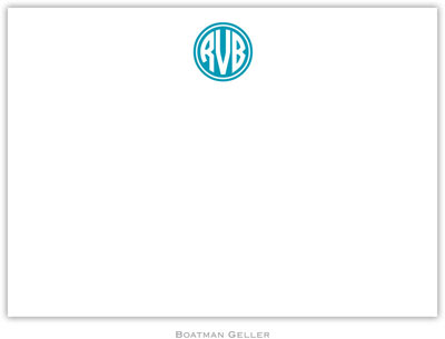 Boatman Geller - Kessler Circle Monogram Turquoise Birth Announcements/Invitations