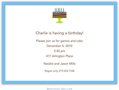 Boatman Geller - Birthday Cake Blue Birth Announcements/Invitations