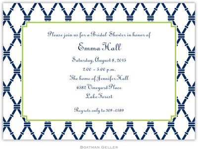 Boatman Geller - Bamboo Navy & Green Birth Announcements/Invitations