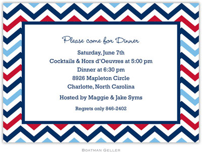 Boatman Geller - Chevron Blue & Red Birth Announcements/Invitations