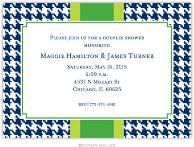 Boatman Geller - Alex Houndstooth Navy Birth Announcements/Invitations