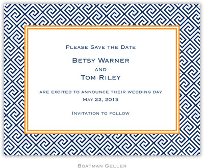 Boatman Geller - Create-Your-Own Birth Announcements/Invitations (Greek Key)