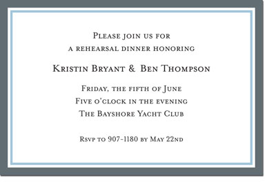 Boatman Geller - Border Charcoal and Light Blue Birth Announcements/Invitations