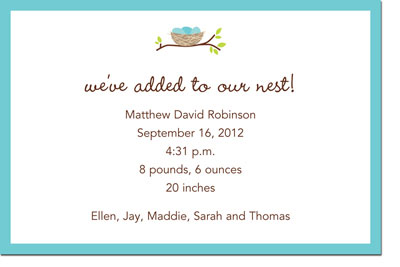 Boatman Geller - Nest Birth Announcements/Invitations