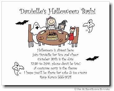 Pen At Hand Stick Figures - Invitations - Halloween #2 (color)