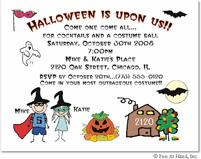 Pen At Hand Stick Figures - Invitations - Halloween #3 (color)
