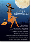 Noteworthy Collections - Halloween Invitations (Witch in Flight African American)