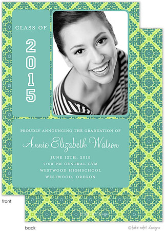 take note designs tiffany fancy grid graduation announcements