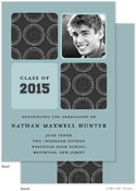 Take Note Designs - Modern Circle Dark Grey and Blue Graduation Announcements (Photo)