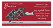 Take Note Designs - Dark Grey Circles and Red Graduation Invitations