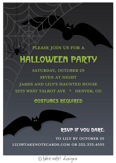 Take Note Designs - Halloween Invitations (Bats Night Out)