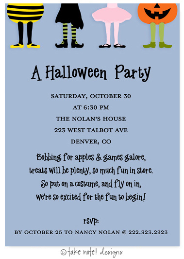 Take Note Designs - Halloween Invitations (Costume Party Kids Blue)