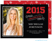 Tumbalina Graduation Invitations/Announcements - Grad Chalkboard Banner (Black & Red - Photo)
