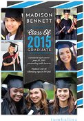 Tumbalina Graduation Invitations/Announcements - Grad Banner Collage (Chalkboard Blue - Photo)