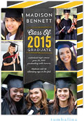 Tumbalina Graduation Invitations/Announcements - Grad Banner Collage (Chalkboard Yellow - Photo)