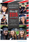Tumbalina Graduation Invitations/Announcements - Grad Banner Collage (Chalkboard Red - Photo)