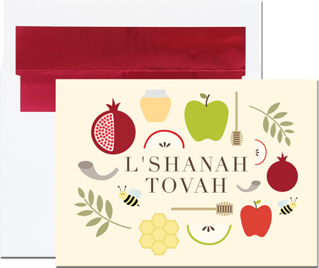 Birchcraft Studios Jewish New Year Cards - Collage of Symbols