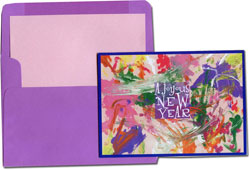 Designer's Connection Jewish New Year Cards - Abby's Abstract in Fingerpaints