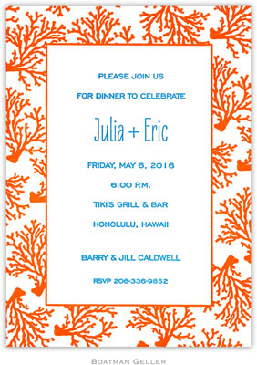 Boatman Geller - Coral Border Medium-Sized Letterpress Invitations/Announcements