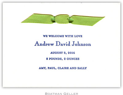 Boatman Geller - Boy Announcement Petite-Sized Letterpress Invitations/Announcements