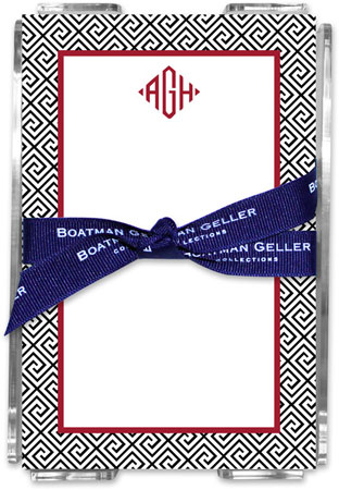 Boatman Geller - Create-Your-Own Memo Sheets With Acrylic Holder (Greek Key)