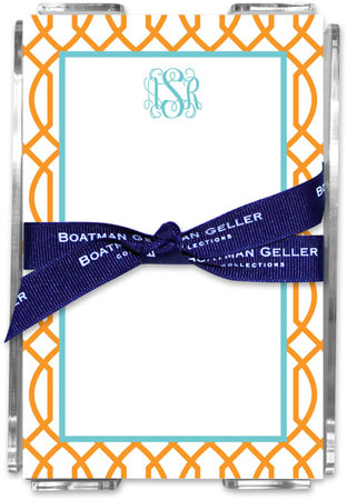Boatman Geller - Create-Your-Own Memo Sheets With Acrylic Holder (Trellis Reverse)