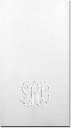 A Three Bees Item - Blind-Embossed Linen-Like Guest Towels (Classy Script Monogram)