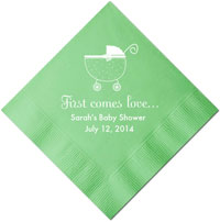 Personalized Napkins - First Comes Love Baby Shower