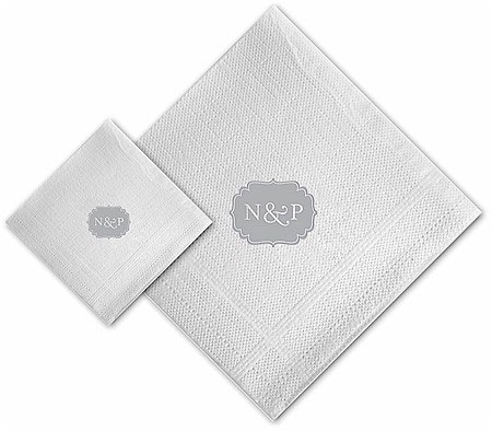 Boatman Geller - Linen-Like Personalized Beverage and Dinner Napkins (Label)