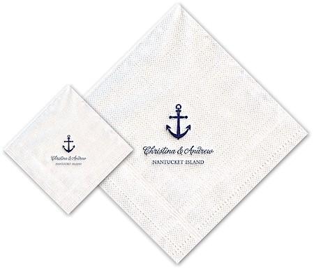 Boatman Geller - Linen-Like Personalized Beverage and Dinner Napkins (Anchor)