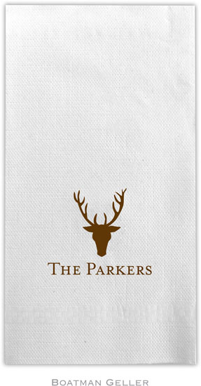 Boatman Geller - Linen-Like Personalized Guest Towels (Stag Antlers)