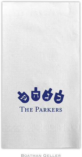 Boatman Geller - Linen-Like Personalized Guest Towels (Dreidels)
