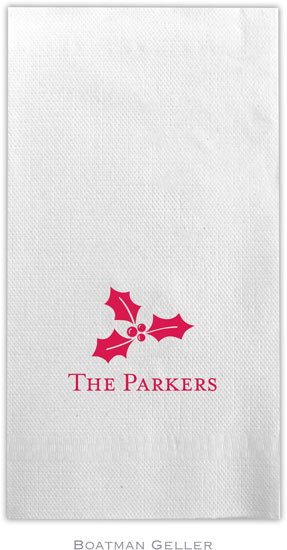 Boatman Geller - Linen-Like Personalized Guest Towels (Holly)