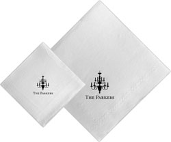 Boatman Geller - Linen-Like Personalized Beverage and Dinner Napkins (Chandelier)